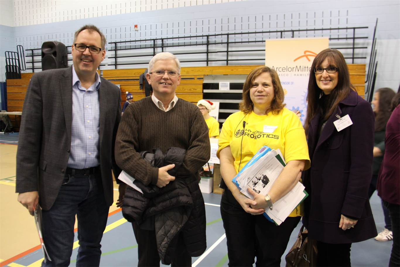 HWCDSB Robotics Convenor Joanne Bortolotto (2nd from right) with, from left to right, Superintendent of Education Morris Hucal, Chairperson Pat Daly and Superintendent of Education Toni Kovach.